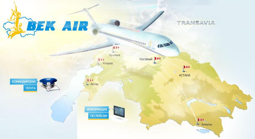 Bek Air route map