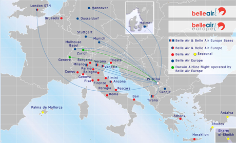 Belle Air route map - from Pristina