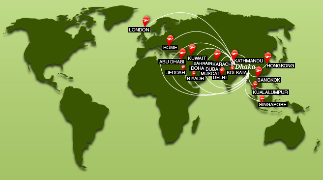 Biman Bangladesh Airlines route map - international routes