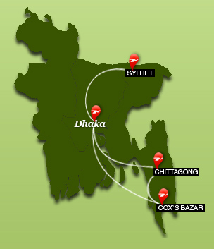 Biman Bangladesh Airlines route map - domestic routes