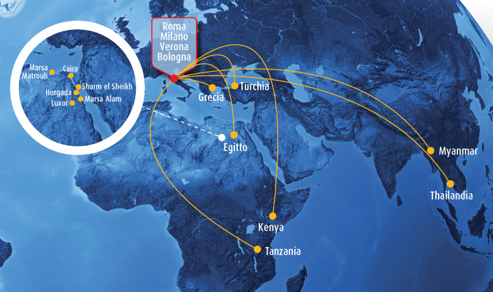 Blue Panorama Airlines route map - Asia and Africa