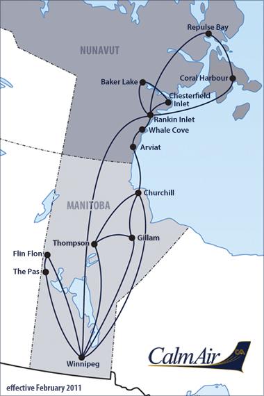 Calm Air route map