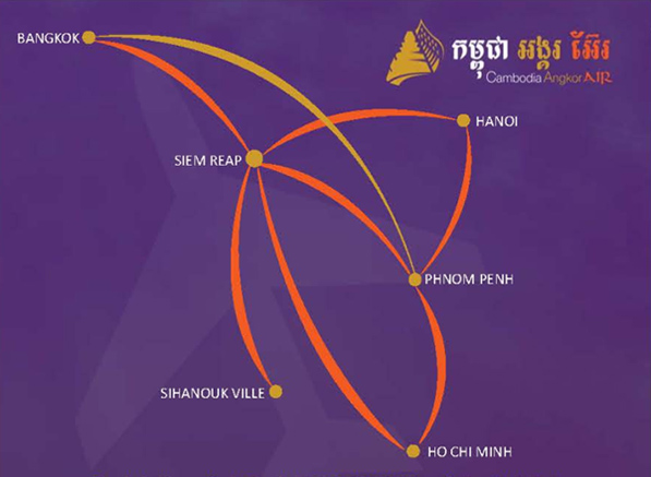 Cambodia Angkor Air route map