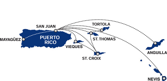 Cape Air route map - the Caribbean