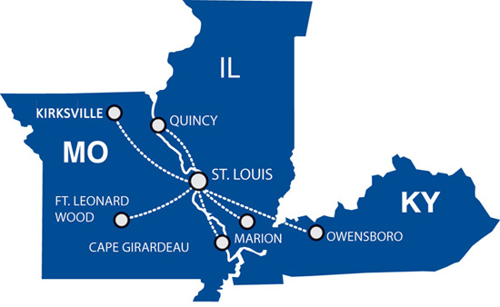 Cape Air route map - Midwest