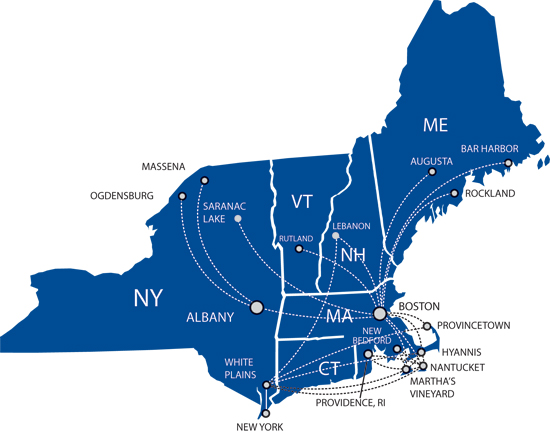 Cape Air route map - Northeastern USA