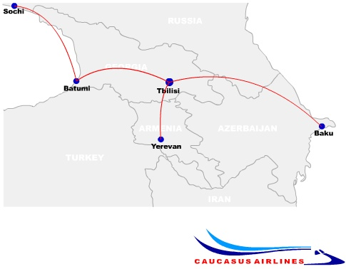 Caucasus Airlines route map