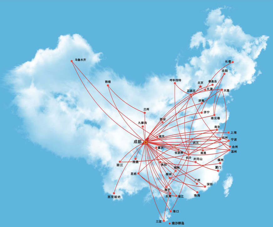 Chengdu Airlines route map