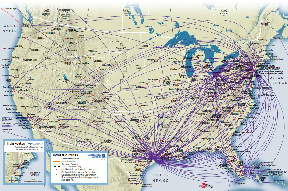 Continental Airlines route map - domestic routes