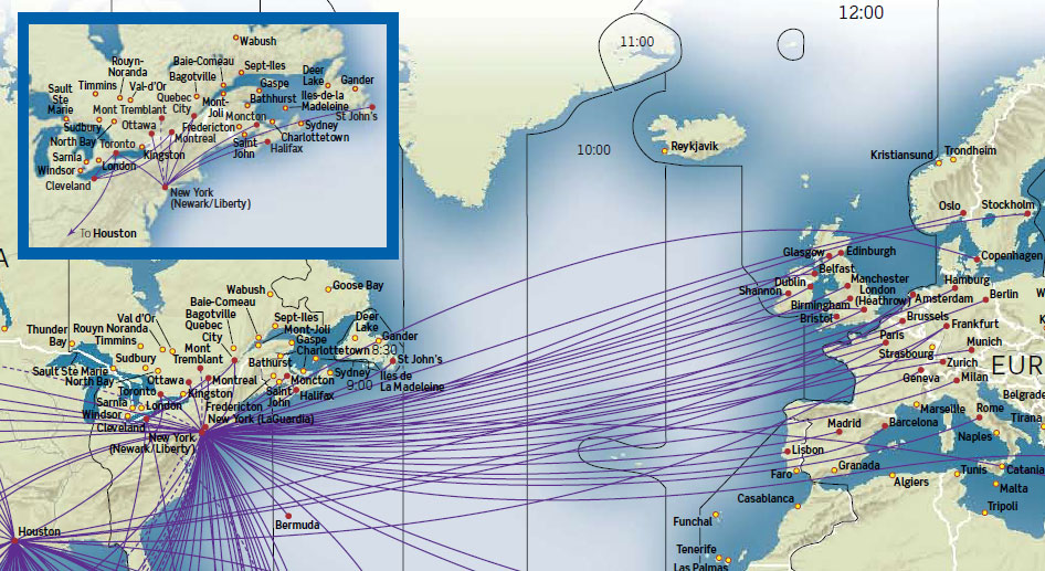 Continental Airlines route map - Europe