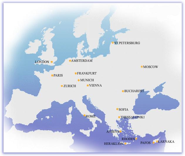 Cyprus Airways route map - Europe