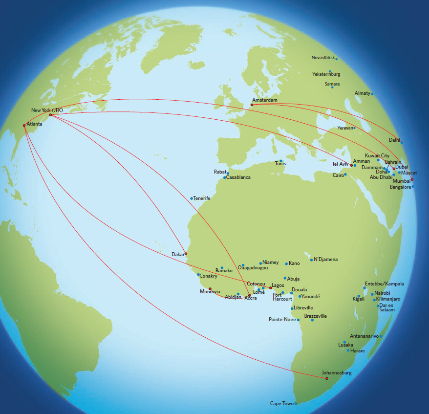 Delta Air Lines route map - Africa and the Middle East