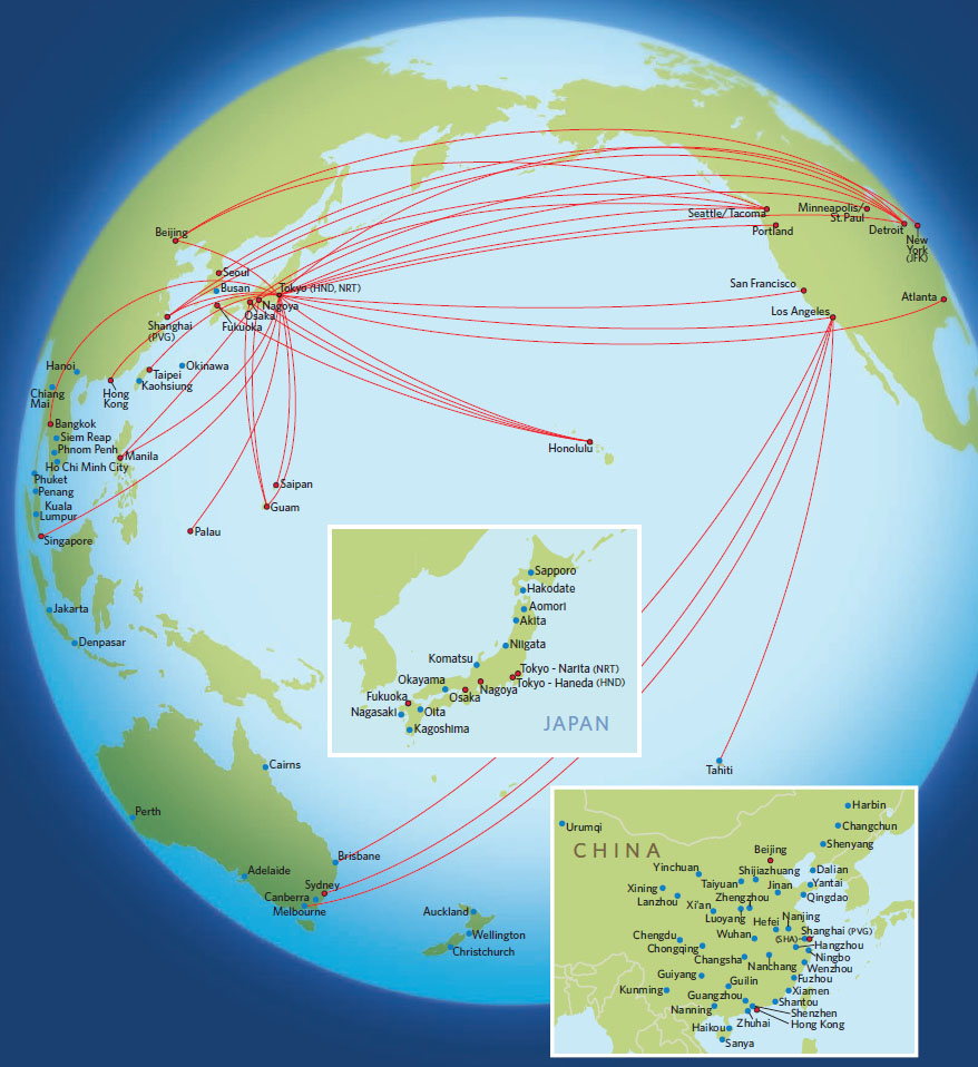 Delta Air Lines route map - Asia and Australia