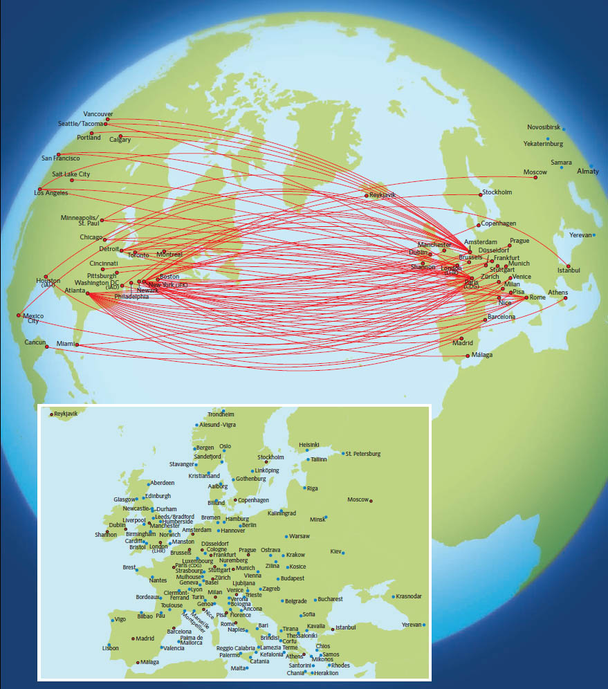 Delta Air Lines route map - Europe