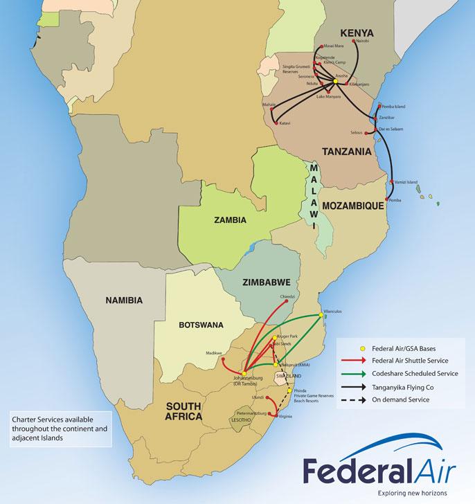 Federal Air route map