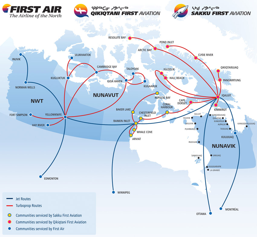 First Air route map - domestic routes