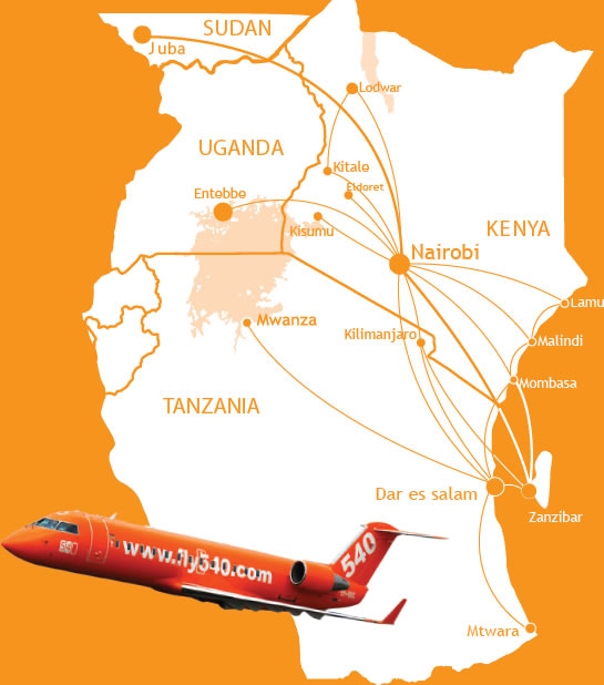 Fly540 route map