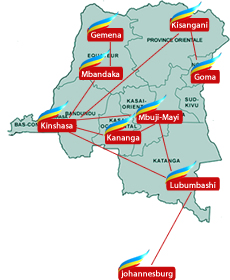 FlyCongo route map