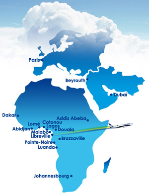 Gabon Airlines route map