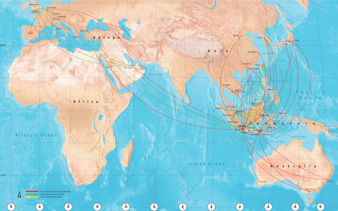 Garuda Indonesia route map - international routes