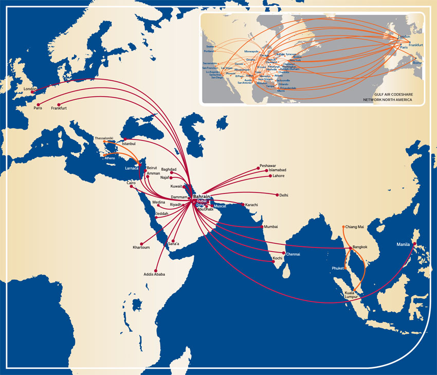 Gulf Air route map