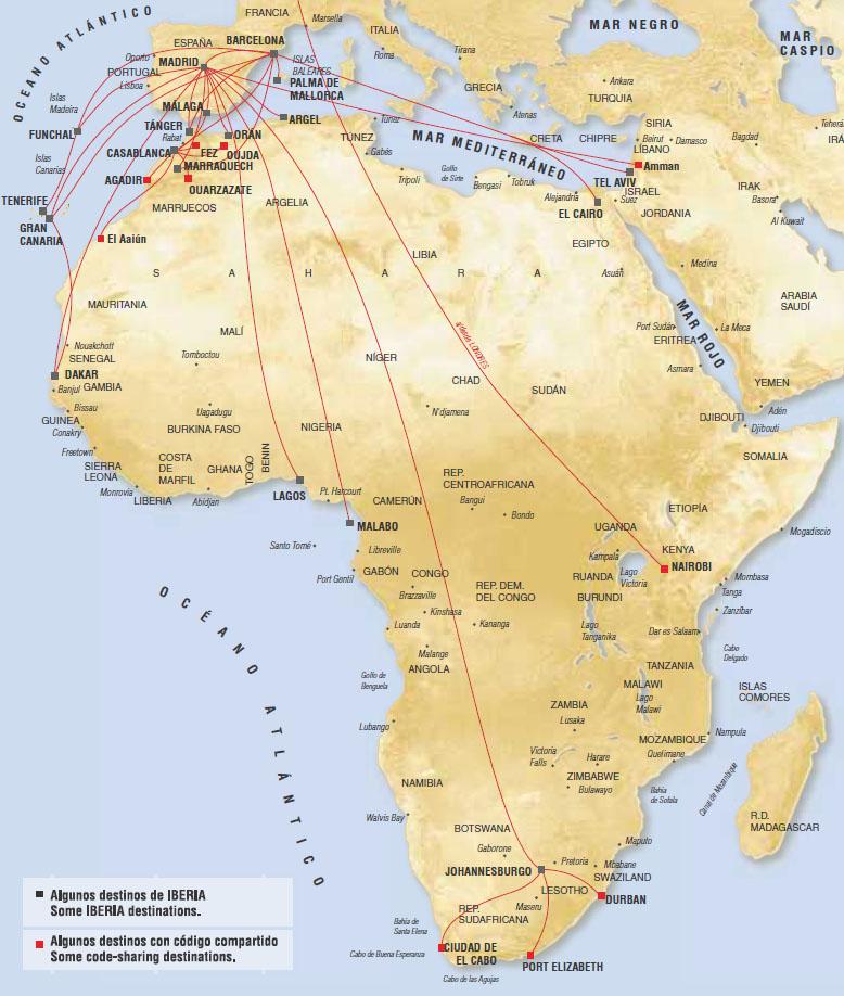 Iberia route map - Africa