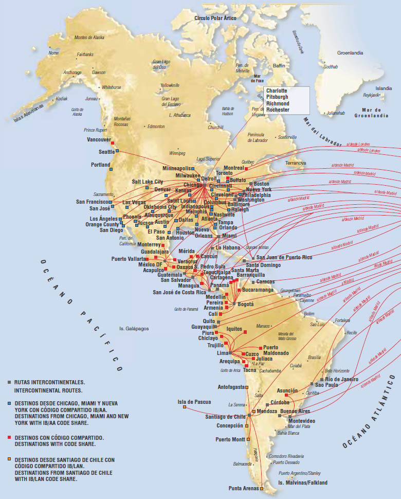 Iberia route map - North and South America