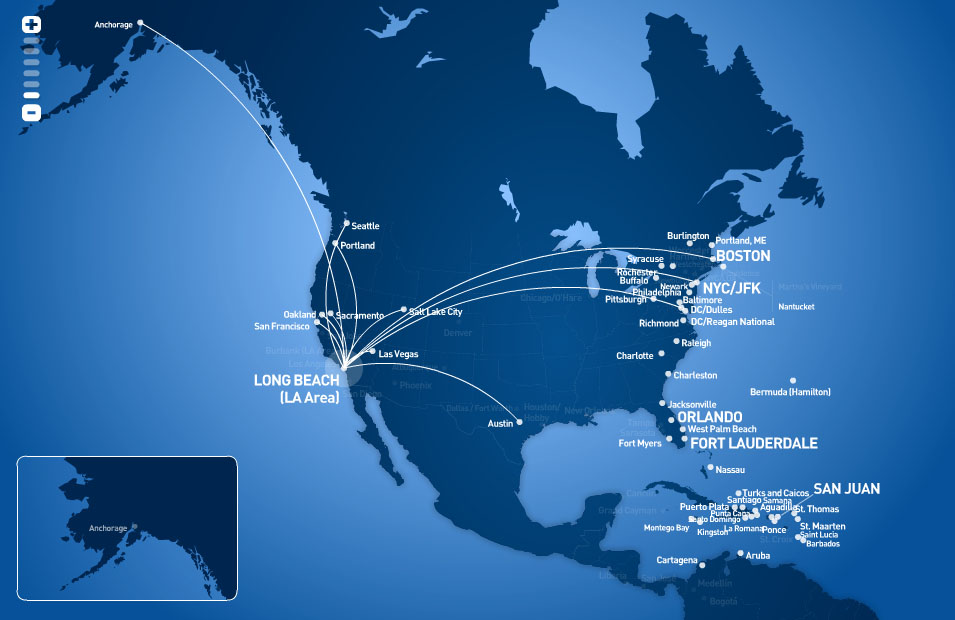 JetBlue Airways route map - from Long Beach