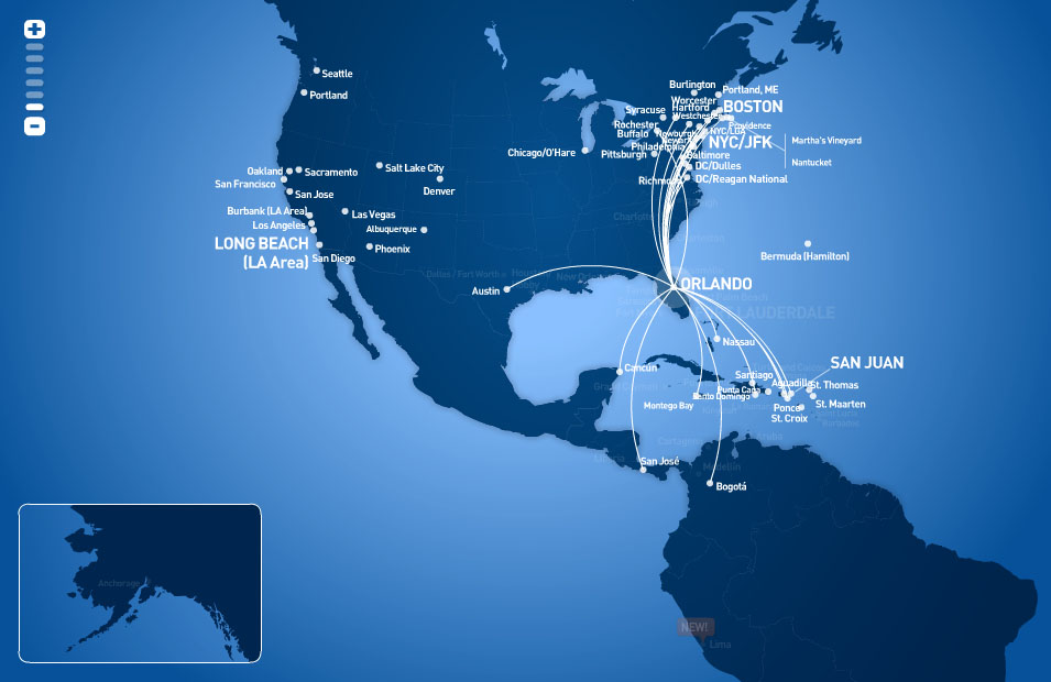 JetBlue Airways route map - from Orlando