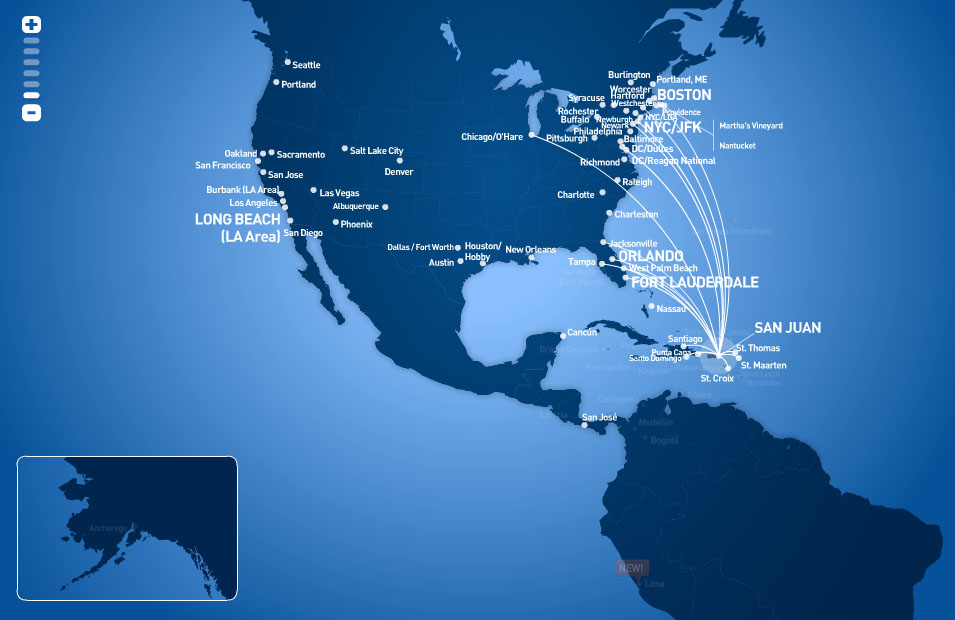 JetBlue Airways route map - from San Juan