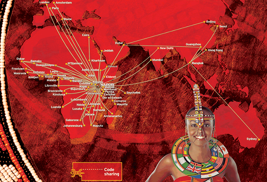 Kenya Airways route map