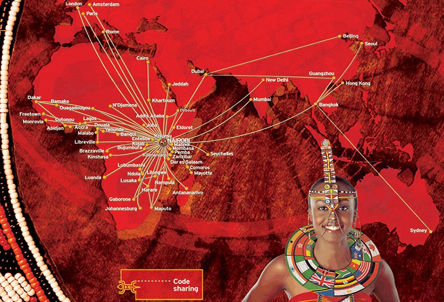 Kenya Airways route map