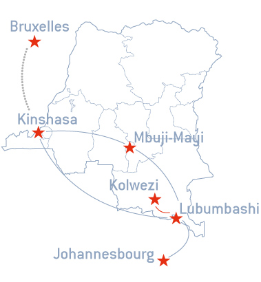 Korongo Airlines route map