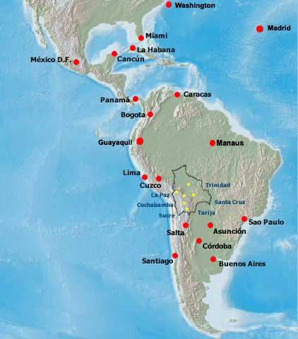 Lloyd Aereo Boliviano route map