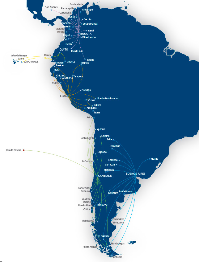 LATAM Chile route map - domestic routes