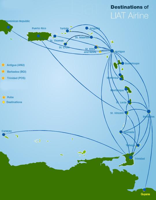 LIAT Leeward Islands Air Transport route map