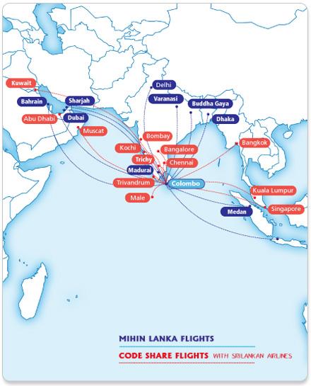 Mihin Lanka route map