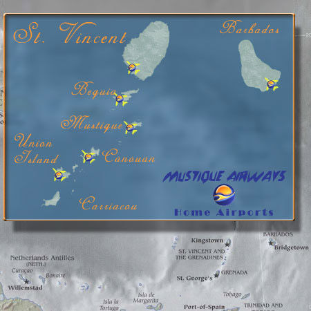 Mustique Airways route map