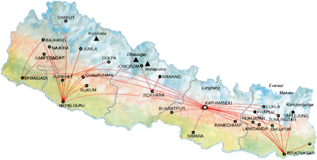 Nepal Airlines route map - domestic routes