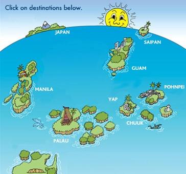Palau Micronesia Air route map