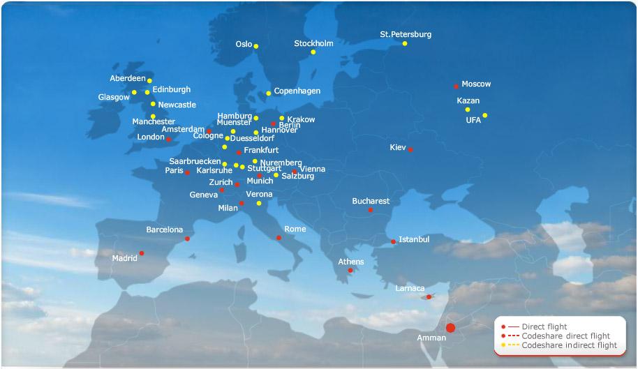 Royal Jordanian route map - Europe