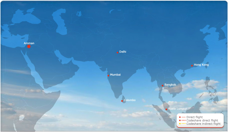 Royal Jordanian route map - Asia