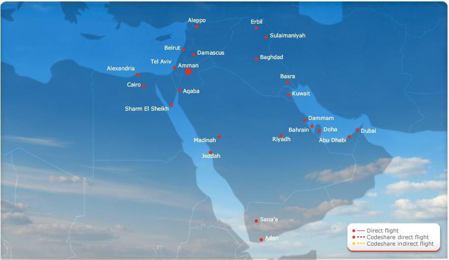 Royal Jordanian route map - Middle East