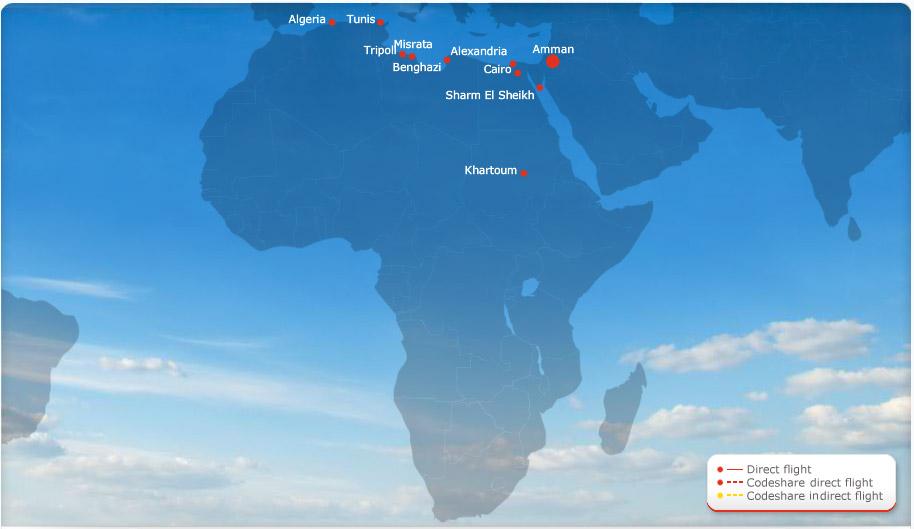 Royal Jordanian route map - Africa