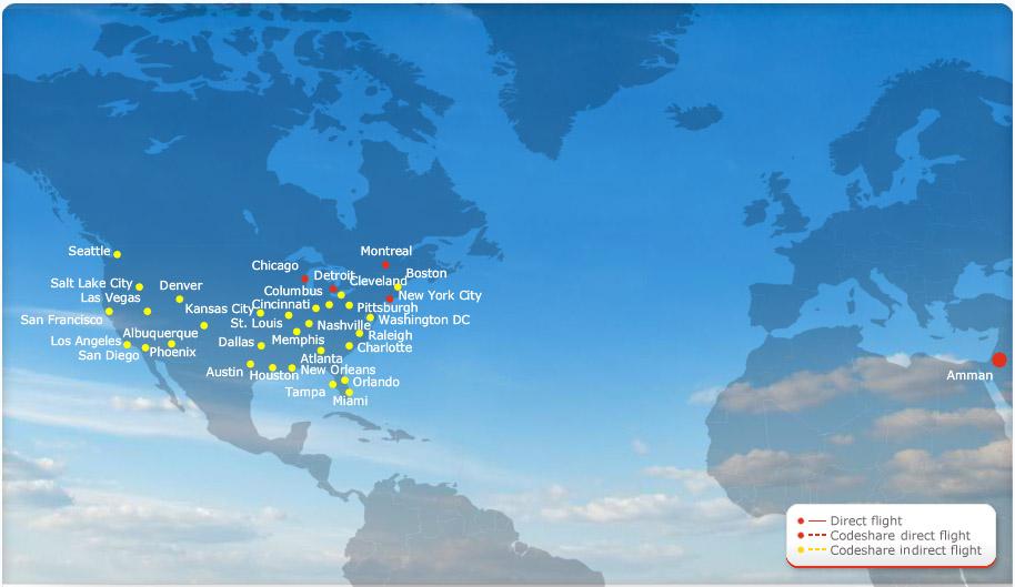 Royal Jordanian route map - North America
