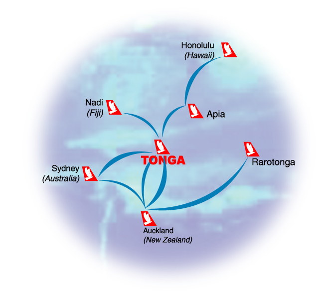 Royal Tongan Airlines route map - international routes