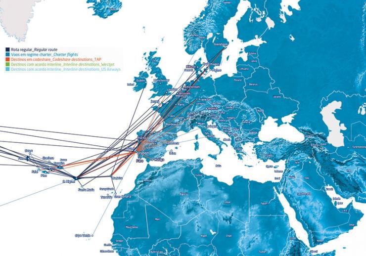 SATA International route map - Europe