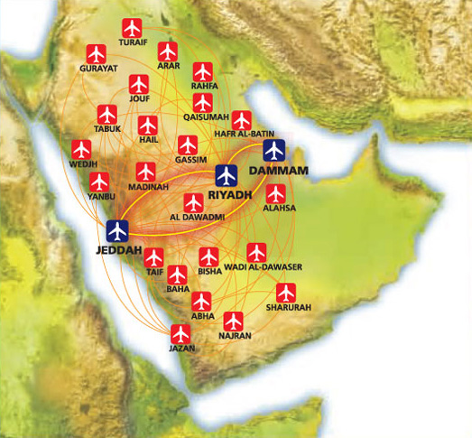 Saudi Arabian Airlines route map - domestic routes