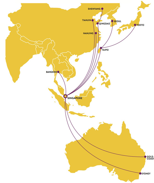 Scoot route map - longhaul routes