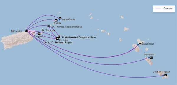 Seaborne Airlines route map